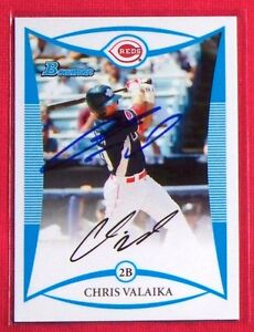 Chris Valaika Cincinnati Reds 2008 Bowman Draft Picks Signed Card #BDPP109