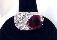 Vintage Cocktail Ring Garnet Glass Crystal Accents Art Deco Style Chic Size 6