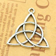 Triquetra Trinity Knot Celtic Pagan perles d'argent tibétain pendentif 5pcs HG
