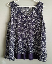 BNWT Womens Sz 18 Target Double Layer Print Blue Sleeveless Drape Tunic Top