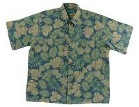 Tori Richard Mens Camp Hawaiian Shirt Blue Green XL Aloha Tropical Print
