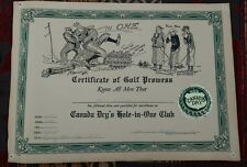 CANADA DRY HOLE-IN-ONE CLUB VINTAGE 1930s GOLFING GRAPHIC ART CERTIFICATE