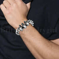 Polished Biker Stainless Steel Bracelet Skull Curb Link Chain Cuff for Men 9""