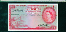 "BRITISH CARIBBEAN TERRITORIES P7c $1 ""MAP NOTE"" 1958 GRADED XF"