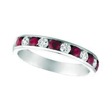 1.10 Carat Natural Ruby & Diamond Ring 14K White Gold