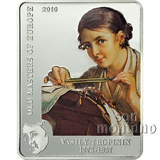 """2010 Cook Islands VASILY TROPININ """"Masters of Europe"""" Silver Coin THE LACE MAKER"""