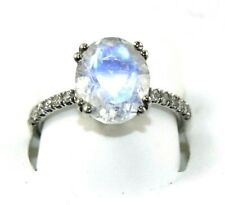 Oval White Moonstone & Diamond Solitaire Lady's Ring 14k White Gold 2.65Ct