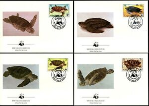 ANGUILLA - 1983 WWF 'SEA TURTLES' Set of 4 First Day Covers [B2438]