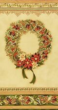 Precut Christmas Wreath Panel Robert Kaufman Holiday Flourish Country w/Gold Met