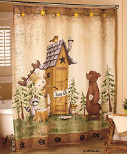 Nature Calls Fabric Shower Curtain IN HAND Woodland Cabin Lodge Moose Bear Decor