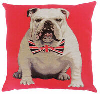 Evans Lichfield Churchill Bulldog Union Jack Bow Tie Red Cushion Cover 18""