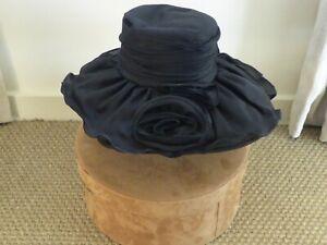 Miss Dolores Vintage Satin Hat , Formal Elegant Wedding, Black