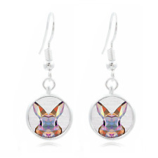 Geometric Rabbit Tibet Silver Dome Photo 16MM Glass Cabochon Long Earrings #427