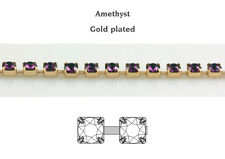 Genuine Swarovski 27004 Round Cupchains With 1088 Crystals Amethyst 1m 4mm (pp32) Gold Plated