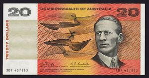 20 Dollars $20 Australian Banknote 1968 Phillips Randall R403