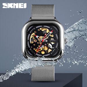 SKMEI Automatic Hollow Mechanical Watch Male Square Mechanical Wristwatch 9184