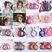 Fashion Women Polka Dot Rabbit Bunny Ear Wire Headband Wired Head Wrap Hair Band