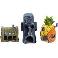 Aquarium Ornament Fish Tank Decoration Landscap Alien Spongebob Pineapple House