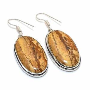 "Picture Jasper Ethnic Gemstone Handmade Jewelry Earring 2.01"" AL-26363"