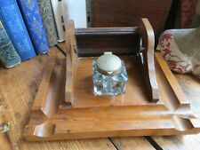 Attractive Antique / Vintage Wooden Inkwell Stand / Ink Stand