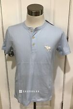 NWT Abercrombie & Fitch Men's EXPLODED ICON HENLEY, Light Blue, Medium