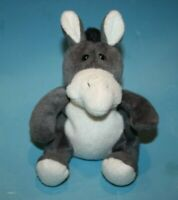 "Stuffins Plush Donkey 5"" 1996 Soft Toy Gray White Black Bean Bag Stuffed Animal"