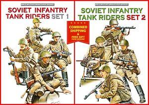 BUNDLE LOT OF SOVIET INFANTRY TANK RIDERS 2 PLASTIC KITS 1/35 MINIART
