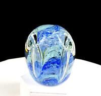"GENTILE GLASS CO SIGNED BLUE SWIRL 3 1/2"" PENCIL PEN HOLDER PAPERWEIGHT 1950-75"