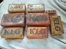 Anciennes boites métal KLG tole Bougie collection thème Garage grande boite