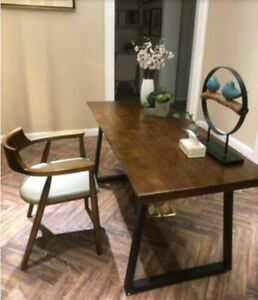 Solid Wood Industrial Style Dinning Table Black Metal Leg 1400 MM Length