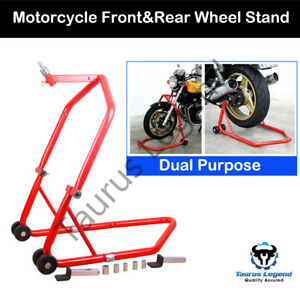 Front Rear Motorcycle Wheel Stand Convertible Motorbike Lift Dolly Dual Purpose