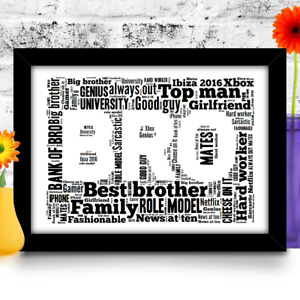 Personalised Brother gift birthday A4 word art print YOUR WORDS USED