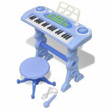 vidaXL Speelgoedkeyboard met Krukje/Microfoon Blauw Kinderkeyboard Keyboard
