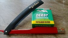 Metal Red-Black Straight Razor with Derby 100 Pack blades - The Old School