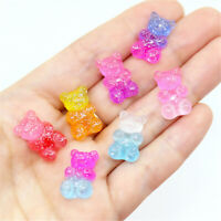 17x11mm Resin Bears Glitter Decor Flat Back Craft Embellishments Charms 20 Pack