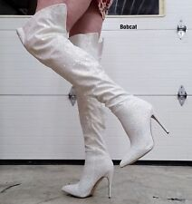 """White Multi Glitter Cortly 3015 Thigh High Boots 5"""" High Heel 6 - 14"""