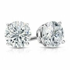 Stud Earrings Round Cubic Zirconia Pushback Post 925 Sterling Silver CZ – 6mm