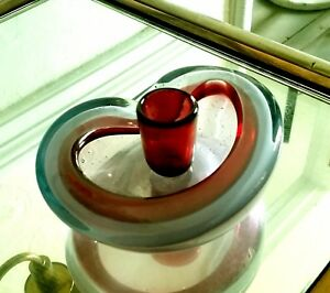 Venetian Murano glass red clear Barovier Toso free form ashtray candle holder MC