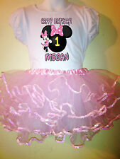 Minnie Mouse Dress Pink Name & birthday number  1T,2T,3T,4T,5,6,7,8,9 10 2pc set