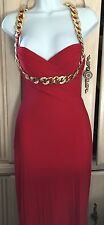 JOVANI RED GOLD CHAIN FORMAL COCKTAIL LONG EVENING DRESS GOWN 0