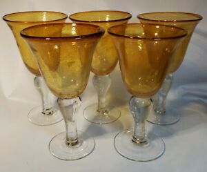 """5 Hand-Blown Gold Yellow 8"""" Bubble Glass Wine Goblets Glasses w/Clear Stems"""