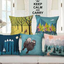 2017 Cute Cartoon Otter Cotton Linen Pillow Case Sofa Animal Throw Cushion Cover