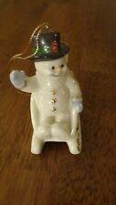 Euc Lenox Christmas Snowman Ornament- 1999 Sledding Snowman