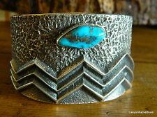 Sterling Silver ANDERSON Morenci Turquoise Navajo Tufa Cast Cuff Bracelet w/Rock