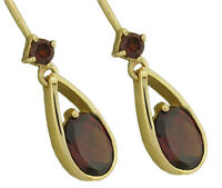 E062 Genuine 9ct Yellow, White or Rose Gold NATURAL Garnet Tear Drop Earrings