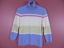 CSM0790-ANN TAYLOR Woman 100% Cashmere Turtleneck Sweater Multi-Color Sz XS MINT