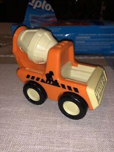 1987 Tonka Bandai Cement Mixer Truck Orange Plastic Rattle Chunky Square