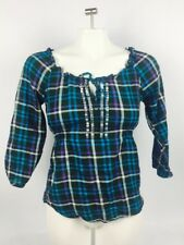 Aeropostale Women's XS Striped Plaid Blue Purple White Stretch Tie Neck Shirt(CL
