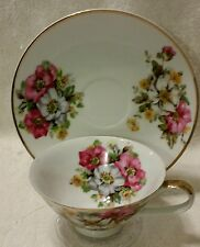 Tea Cup & Saucer Floral PINK RED WHITE Made in Japan Bird Logo