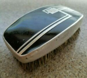 ART DECO GROOMING PALM BRUSH PRO-PHY-LAC-TIC ALUMINUM STERILIZED MADE IN USA